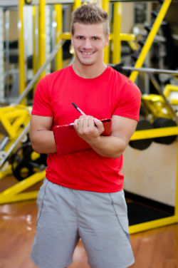 Personal trainer wearing red shirt